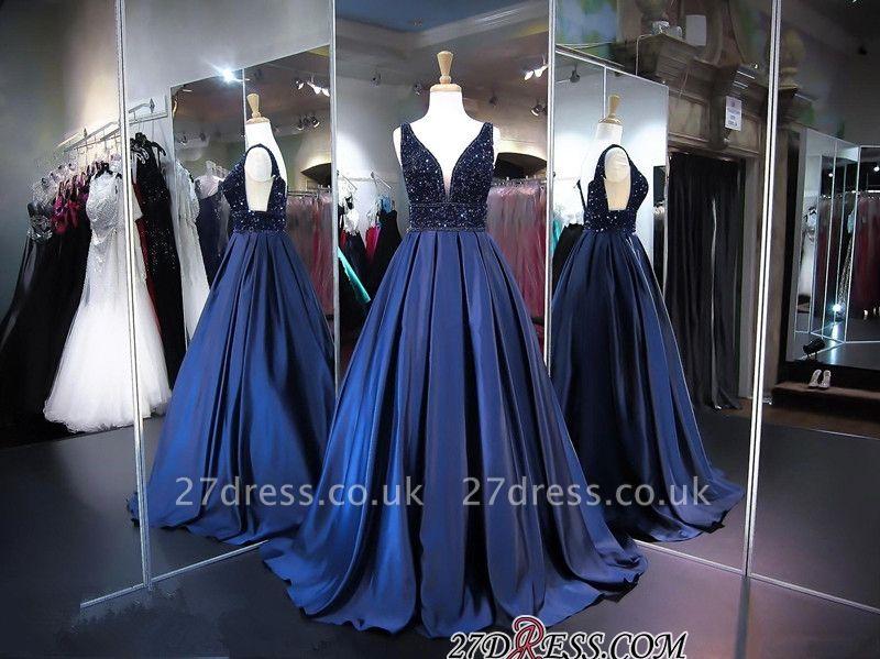 Sleeveless A-line Navy Sexy V-Neck Beadings Evening Dress UK