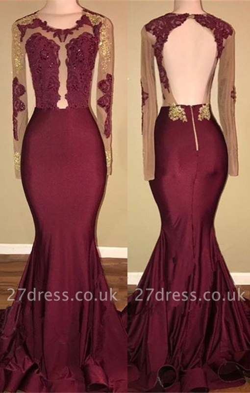 Burgundy Long-Sleeve Prom Dress UK | Lace Long Evening Gowns BA8439