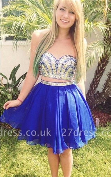 Modern Two Piece Crystals Short Homecoming Dress UK Sweetheart