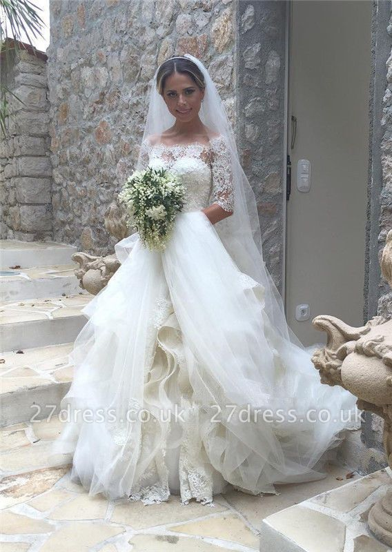 Elegant Half Sleeve Lace Wedding Dress Tulle Zipper Button Back LY190