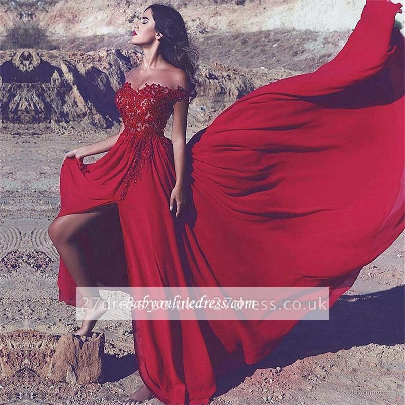 Red Off-the-Shoulder Split Lace Appliques Long Prom Dress UK