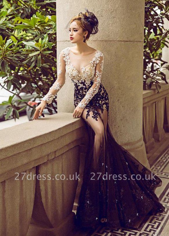 Long-Sleeve Lace Appliques Evening Dress UK | Mermaid Elegant Prom Party Dress UK