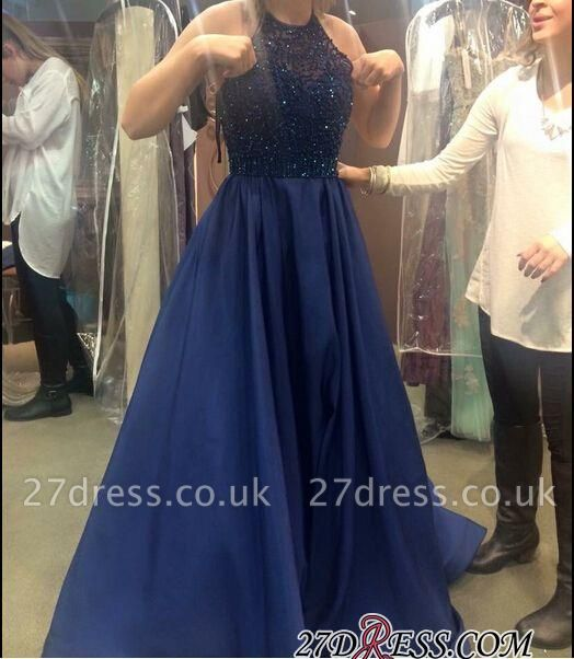 A-line Halter-Neck Beading Dark-Navy-Blue Ruffles Prom Dress UKes UK