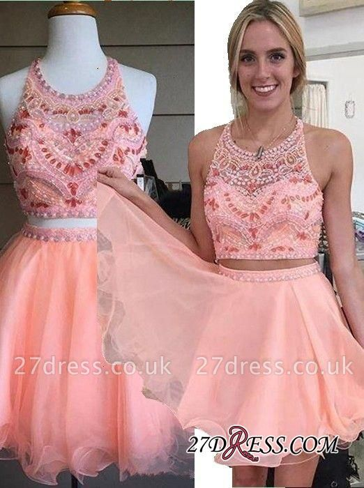 Beading Coral Two-Piece Crystals Mini Lovely Halter Organza Homecoming Dress UK