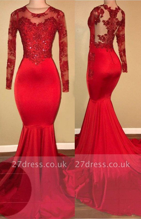 Red lace mermaid prom Dress UK, long sleeve evening gowns RM0