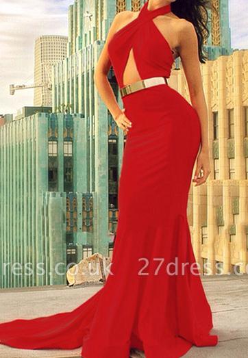 Elegant Red Halter Mermaid Prom Dress UKes UK Sweep Train Evening Dress UKes UK