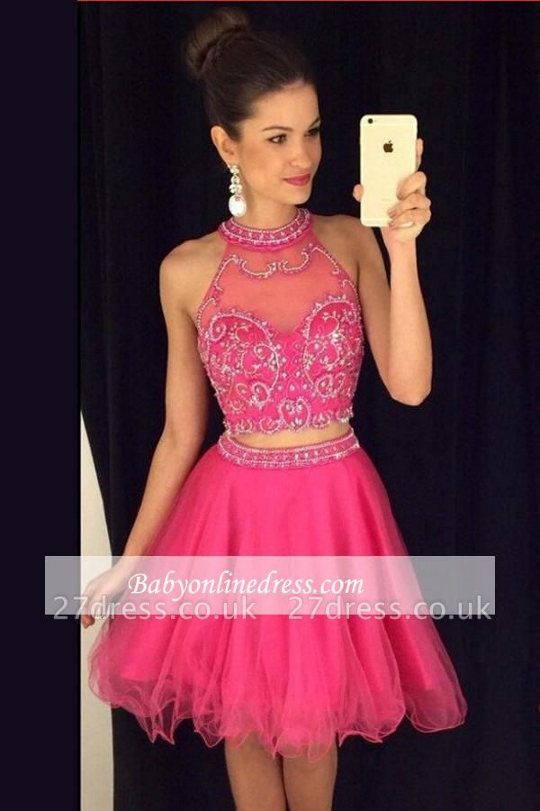 Two-Piece Mini High-Neck A-line Newest Crystal Homecoming Dress UK AP0