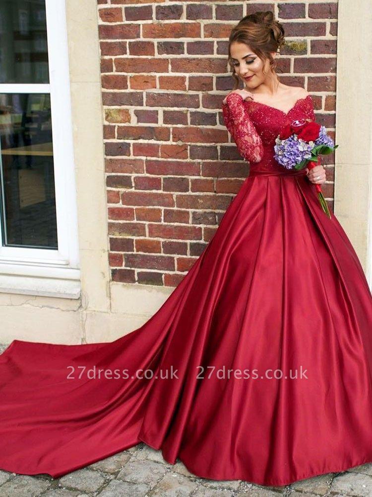 Gorgeous Off-the-Shoulder Long Sleeve Lace Appliques Evening Party Dress UK