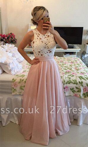 Modern Illusion Chiffon A-line Prom Dress UK Lace Pearls BT0