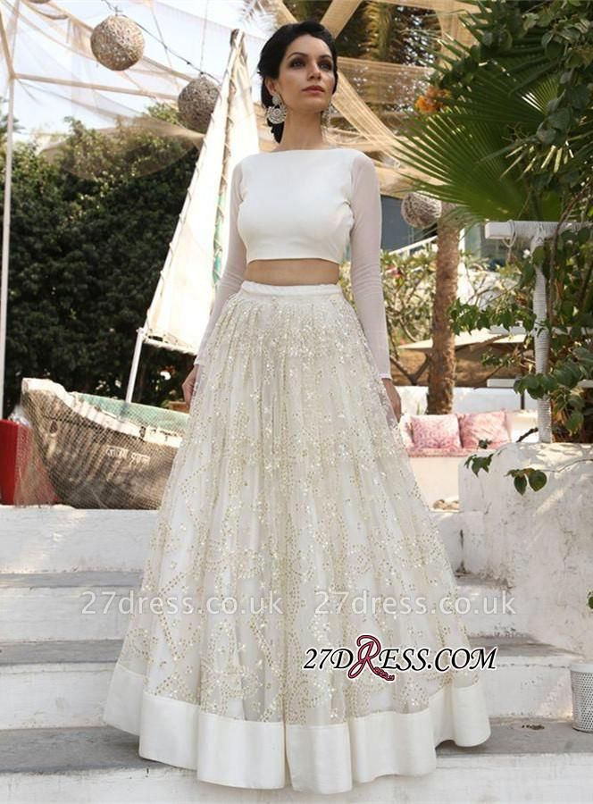 A-line Newest Sequined Two-Piece Long-Sleeve Evening Dress UK