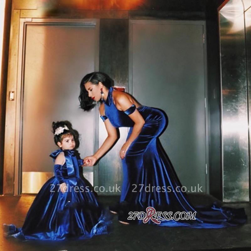 Halter Court-Train Velvet Mermaid Open-Back Elegant Prom Dress UK qq0125