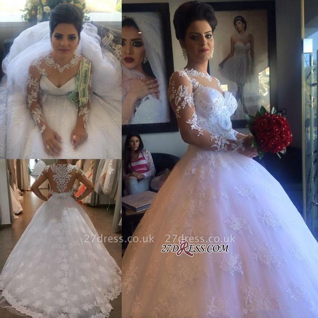 Long-Sleeve Delicate Lace-Appliques A-line White Wedding Dress