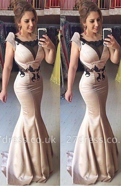 Elegant Cap Sleeve Mermaid Prom Dress UK Sweep Train