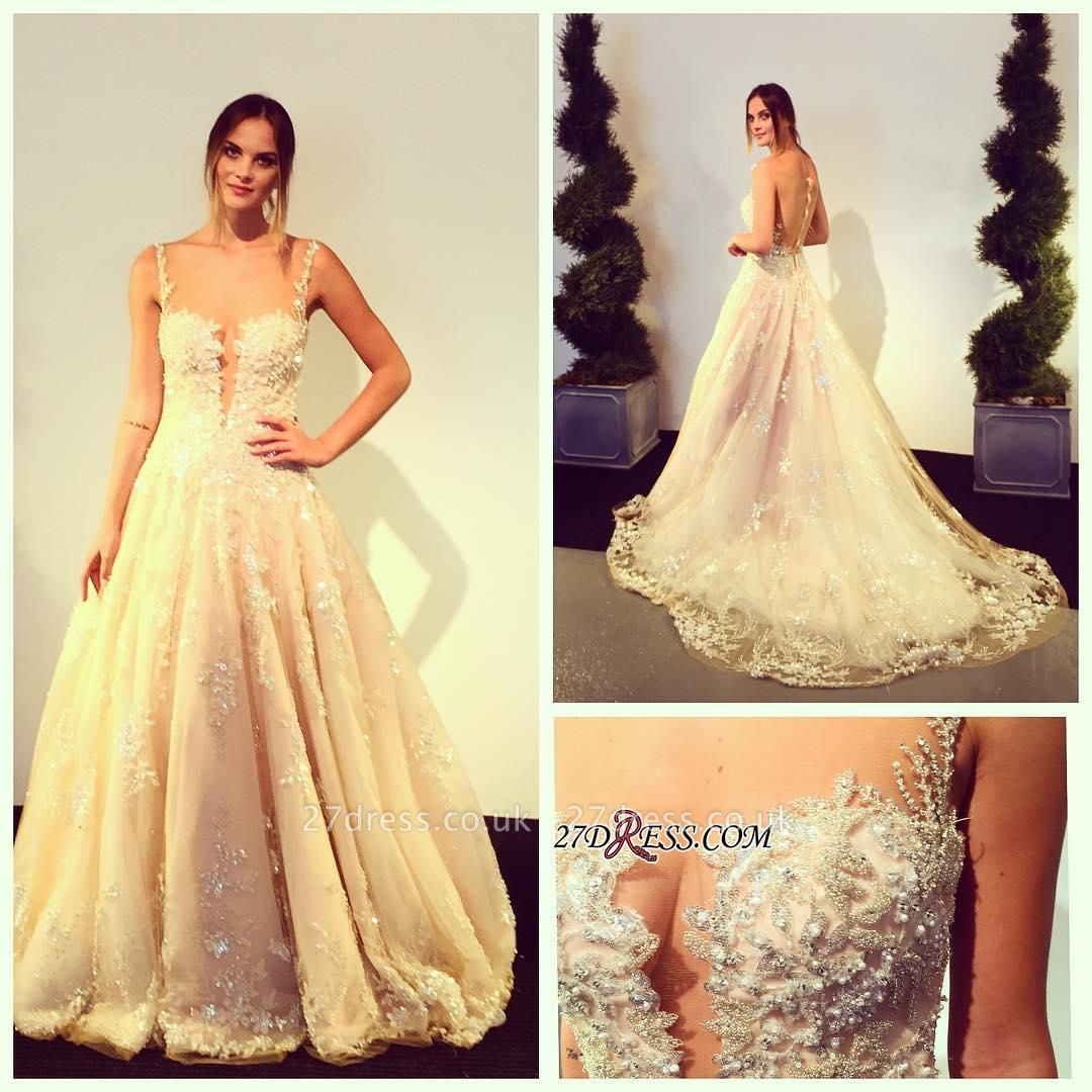 Zipper Beads Appliques Lace Tulle Sleeveless Gorgeous Wedding Dress