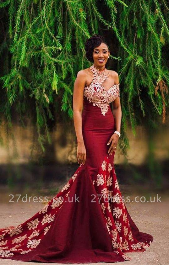 Halter Mermaid Long Prom Dress UK   Lace Appliques Formal Dress UK BA7749