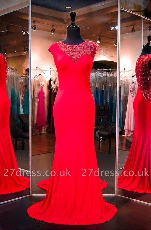 Newest Red Beading Evening Dress UK Cap Sleeve Mermaid Sweep Train