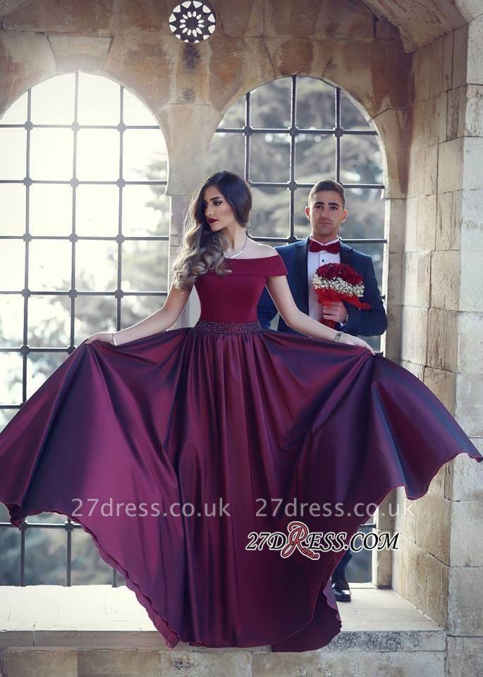 Beautiful A-Line Floor-Length Off-the-shoulder Wine Evening Dress UK