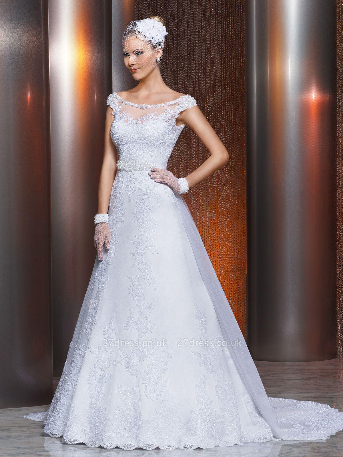 Gorgeous Scoop Neckline Lace Appliques A-Line Wedding Dress With Train