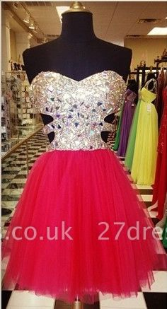 Gorgeous Sweetheart Sleeveless Tulle Short Cocktail Dress UK With Crystals CJ0375