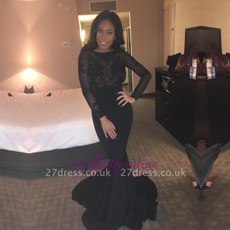 Black Mermaid Elegant Lace Backless Long-Sleeves Sheer Evening Gown BK0