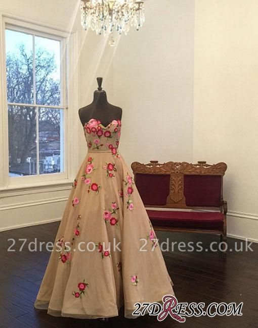 Applique Sweetheart A-line Champagne Flowers Evening Dress UK