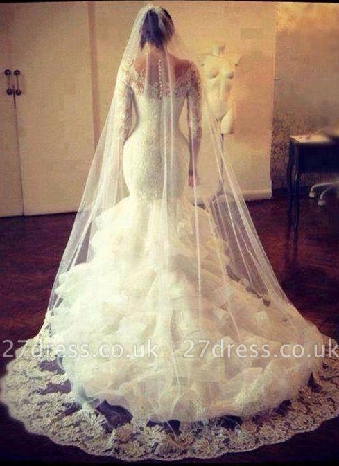 Amazing Long Sleeve Lace Wedding Dress Sexy Mermaid Organza