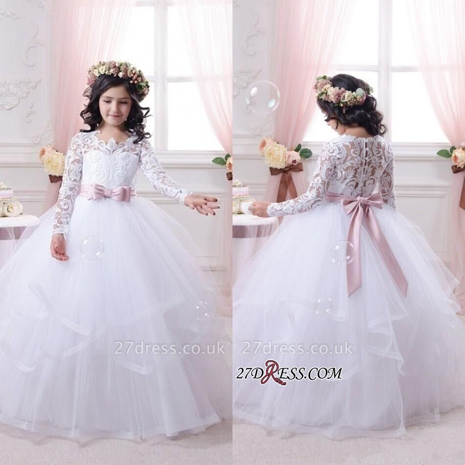 Ball-Gown Lace-Appliques Long-Sleeves Flower-Girl-Dresses