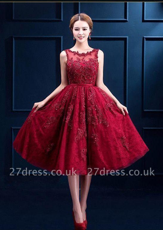 Gorgeous Burgundy Sleeveless Short Prom Dress UK Tulle Appliques Online