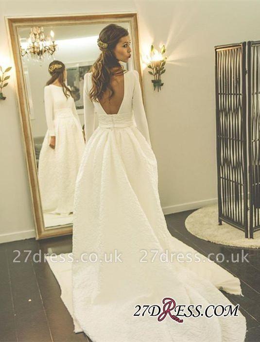 Newest Long-Sleeve A-line Sweep-Train Jewel Wedding Dress