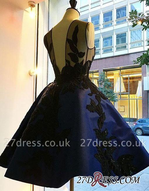 Knee-length Lace Applique Dark-blue A-line Evening Dress UK BA4289