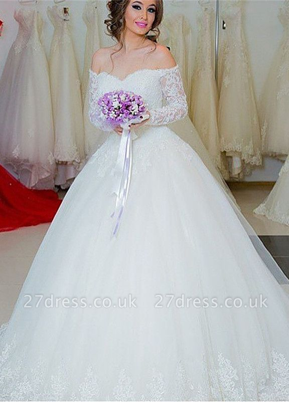Chic Off-the-shoulder Lace Wedding Dress Tulle Ball Gown Long Sleeve ba5341