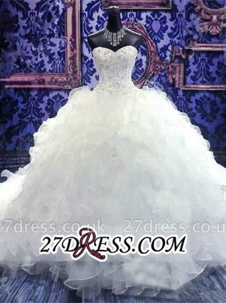 Ball-Gown White Long-Train Beads Lace-up Sweetheart Ruffles Gorgeous Wedding Dress