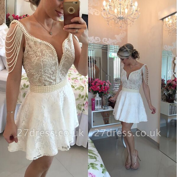 Gorgeous Short Lace Pearls Cocktail Dress UK V-neck Open Back BT0