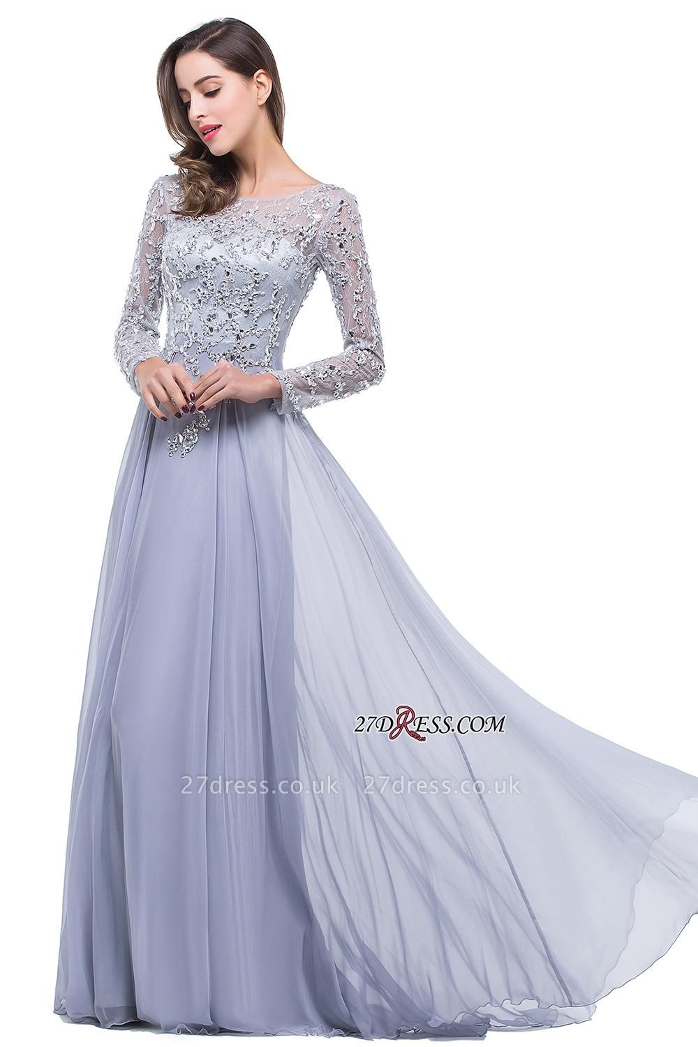 Appliques Long-Sleeves Newest Beadings A-Line Prom Dress UK