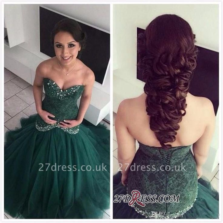Dark-Green Sweetheart Gorgeous Mermaid Lace Evening Dres
