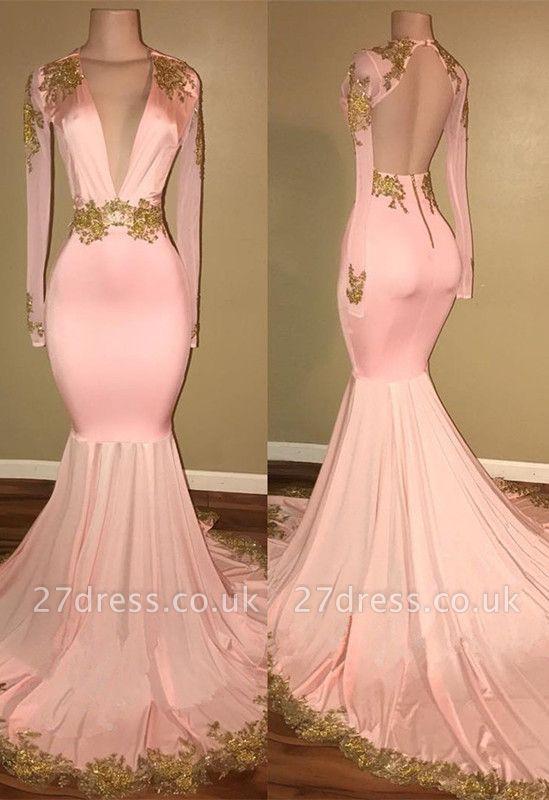 Luxury Long Sleeve V-Neck Prom Dress UK Mermaid With Gold Crystal