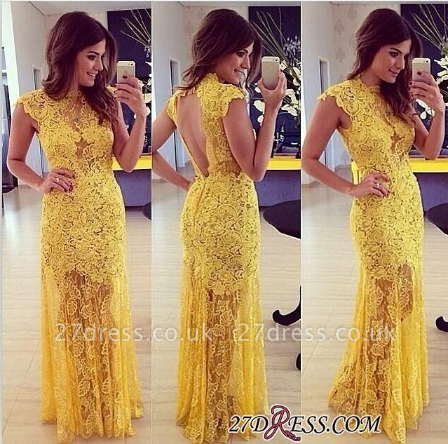 Modern Long Yellow Sleeveless High-Neck Lace A-line Prom Dress UK BA9014
