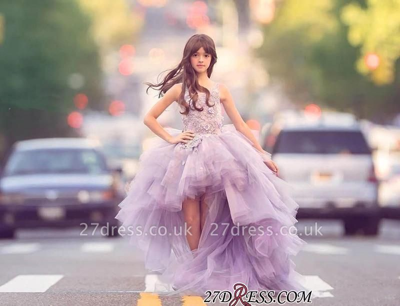 Appliques Sleeveless Hi-Lo Glamorous Tulle Scoop Pageant Dress