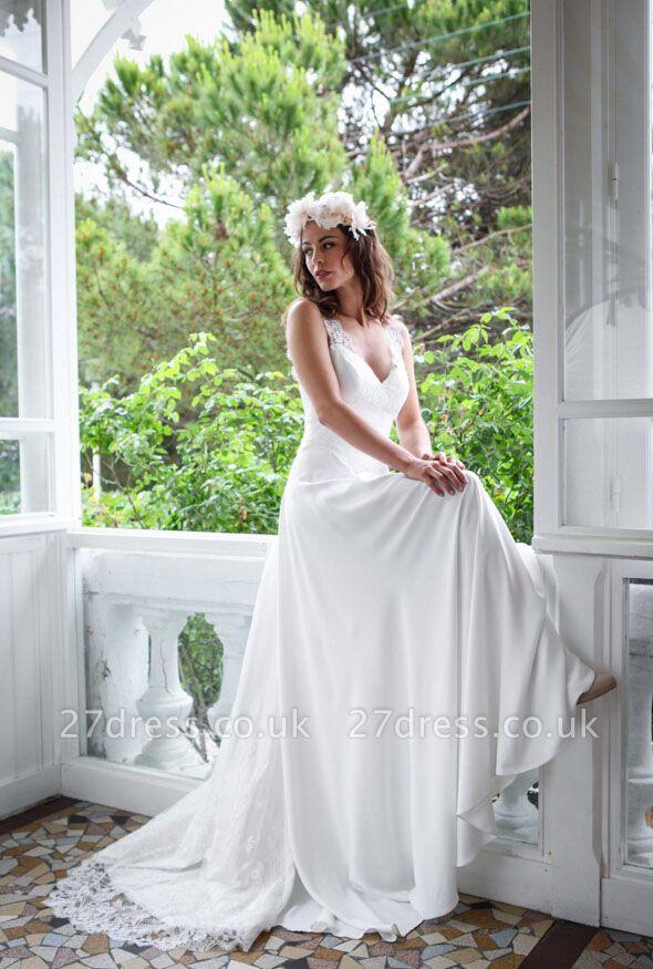 Elegant White Lace Straps Wedding Dress Zipper Button Back