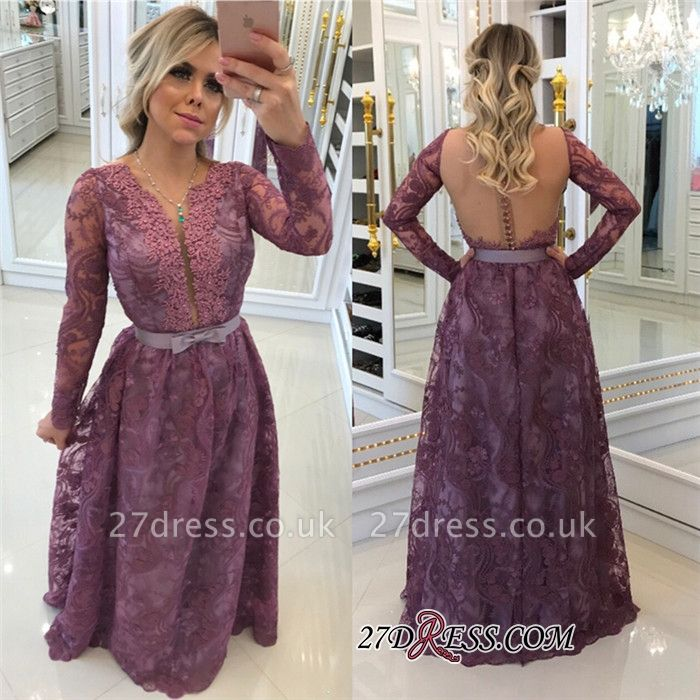 Gorgeous Long-Sleeves Lace Buttons A-Line Evening Dress UKes UK