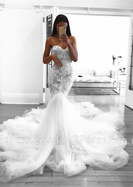 Romantic Sweetheart Lace White Sheer Wedding Dress |  Sexy Mermaid Bridal Gown