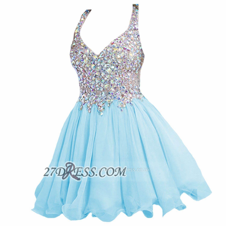 Elegant V-neck Sleeveless Chiffon Short Homecoming Dress UK With Beadings Crystals