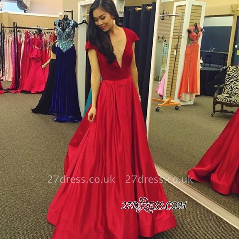 Cap-Sleeves A-Line Deep-V-Neck Red Elegant Velvet Prom Dress UK