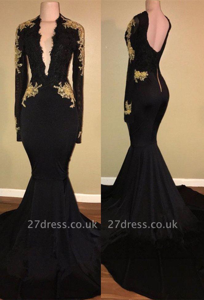 Elegant black prom Dress UK,mermaid long sleeve evening Dress UK BA7942