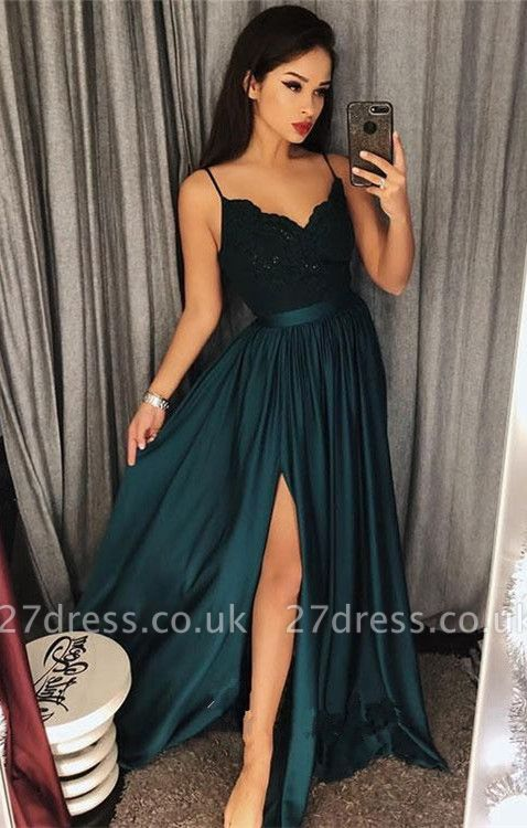 Dark-Green Spaghetti-Straps Prom Dress UK | Lace Evening Gowns With Slit