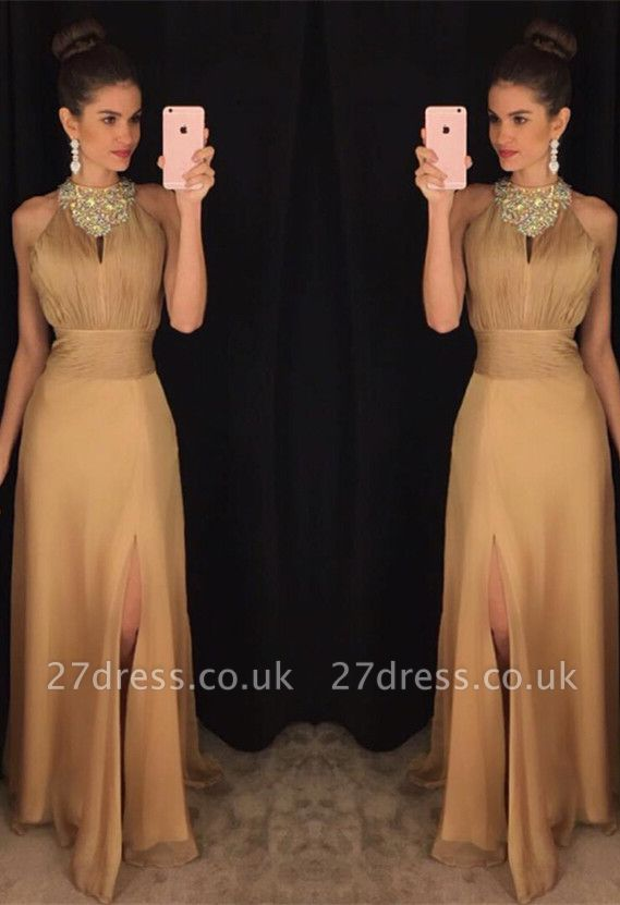 Sexy Beadings Front Split Prom Dress UK A-line Halter Sleeveless AP0