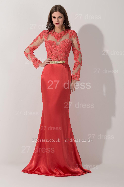 Newest Long Appliques Lace Appliques Evening Dress UK A-line Sash