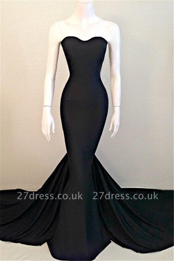 Elegant Mermaid Black Sweetheart Evening Dress UK Sleeveless Sweep Train