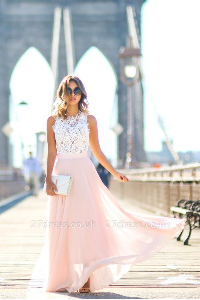 Sweeth Lace Long Sleeveless Prom Dress UKes UK Chiffon Floor Length