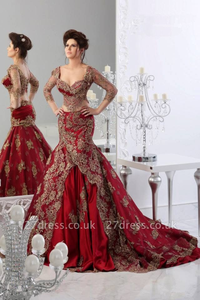 new Elegant Lace Mermaid Prom Dress UKes UK Arabic Sheer Long Sleeves Floor Length Red Party Dress UK with Appliques Tulle